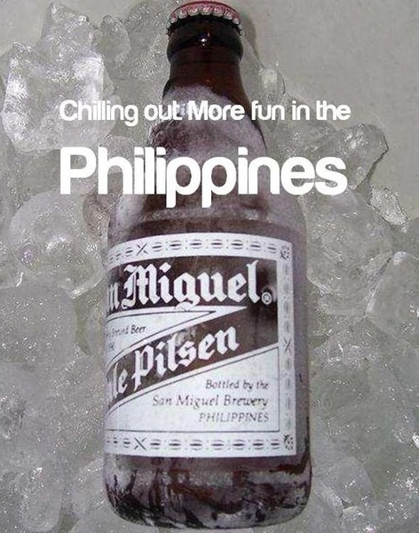 CHILLING OUT. More FUN in the Philippines! It's not Filipino when ur not drinking San Miguel beer.