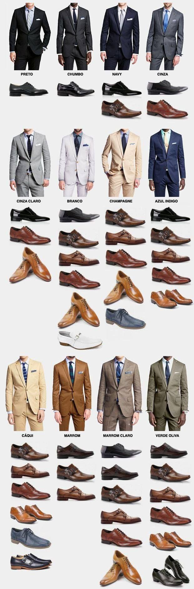 Suit and Shoe Combination  Men, this infographic will assist you when you are in doubt what colour of shoes to wear with a certain colour of suit.