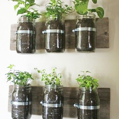 Indoor Herb Garden. We sell old mason jars, often, still in the box for SUPER cheap. Here's a great idea to recycle them. This is a great project to do with your kids which will have great educational benefit to their hungry little brains.