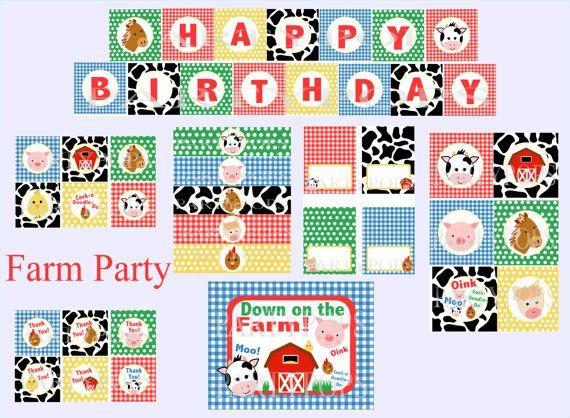 Digital Farm Party Package, Farm Party Decoration, Farm Birthday Party, Barnyard Bash, PDF Printable INSTANT DOWNLOAD on Etsy, $31.11 AUD