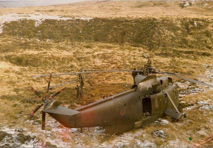 An 846Sqn Sea King having a Blade changed at San Carlos, Falklands. 1982
