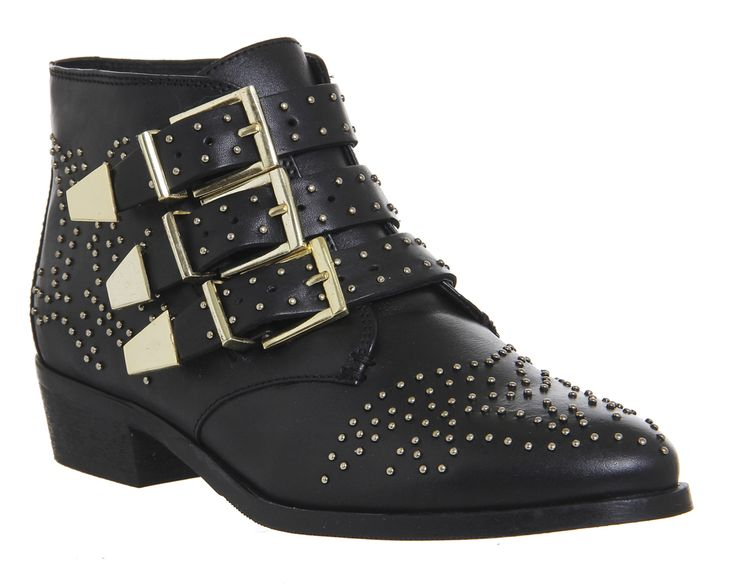 Buy Black Leather Gold Hardware Office Lucky Charm Studded Boots from OFFICE.co.uk.