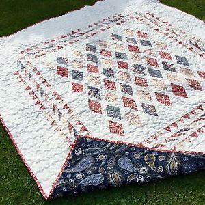 Handmade Double Bed Quilt / Tilda Fabrics/ Diamond Quilt   eBay