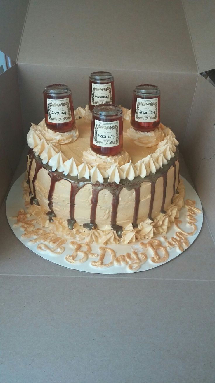 Another Hennessey Cake I Did But With Chocolate Drizzle On The Sides Adult Birthday Cakes