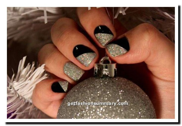 Black And Silver Glitter New Year Nail