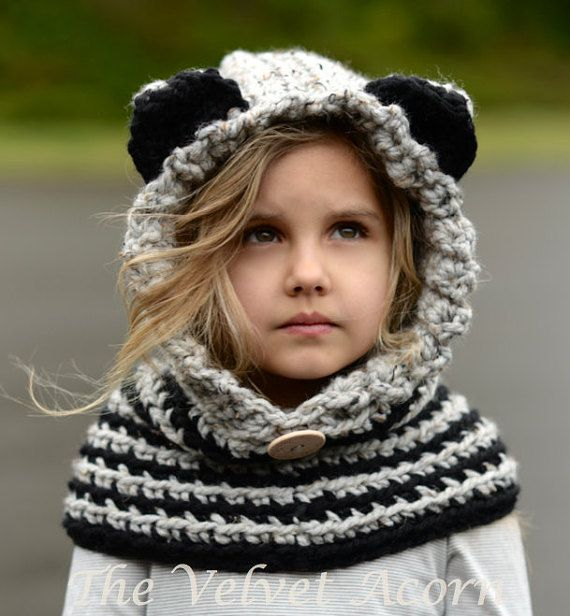 CROCHET PATTERN - Raydin Raccoon Hood (12/18 month,Toddler ...