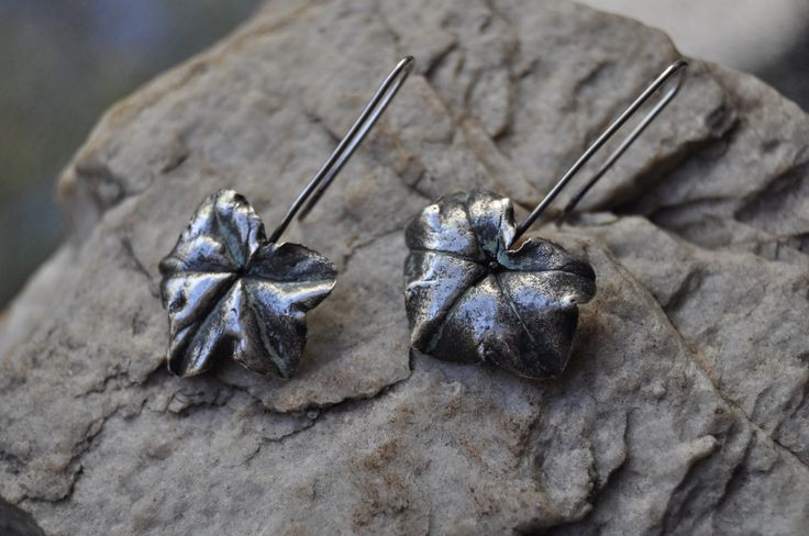 Malva leaf earrings in PMC - by VAN VUUREN Designs