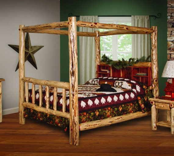 Rustic Red Cedar Log FULL Size CANOPY Bed with Book Shelf