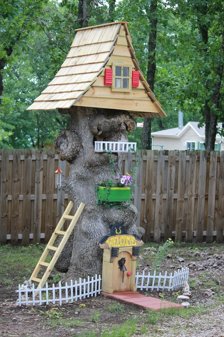 Gnome Homes Made From Tree Stumps