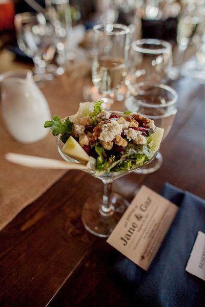 Unique wedding food idea - serve salads in a martini glass for a unique dish! {Alison Rose Photography}