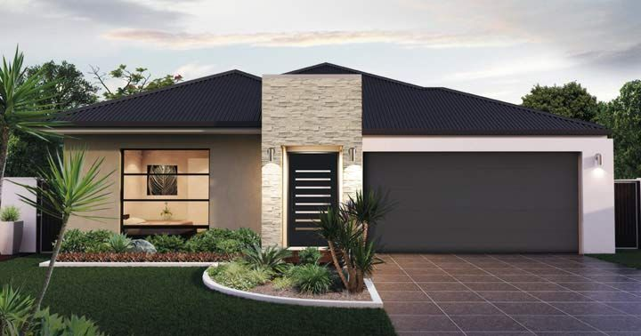 Design Seventeen Facade 2 -  from the Weeks and Macklin Homes Choice Series. Integrating outdoor and indoor spaces. This design encapsulates all aspects of our Australian lifestyle. The central kitchen seamlessly integrates with the alfresco to take advantage of our beautiful climate and love of outdoor entertaining. #weeksmacklinhomes #house #home #facade
