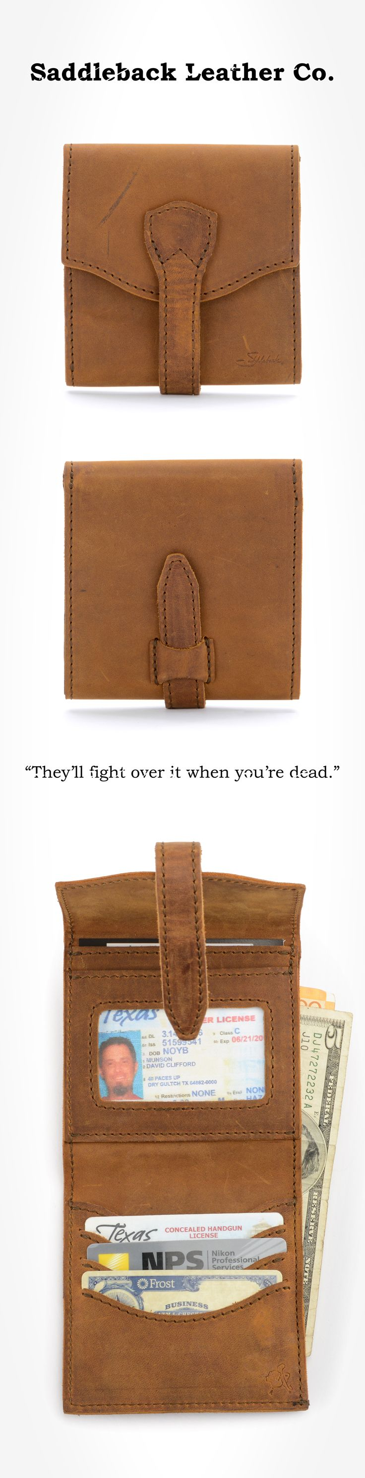 The Saddleback Leather Trifold Wallet in Tobacco | 100 Year Warranty | $68.00