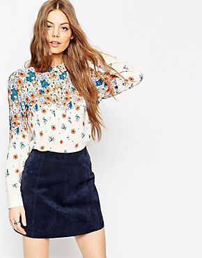 ASOS Placement Print Ditsy Floral Blouse
