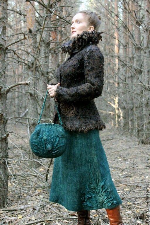 """Купить Теплая юбка и сумка """"Хвоя"""" - тёмно-зелёный, малахит, ель, водоросли, изумрудный, лес"""