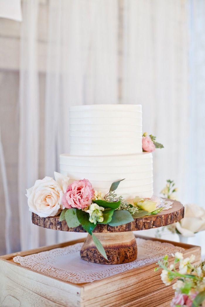 Cake from a Rustic Floral 1st Birthday Party via Kara's Party Ideas! KarasPartyIdeas.com (22)