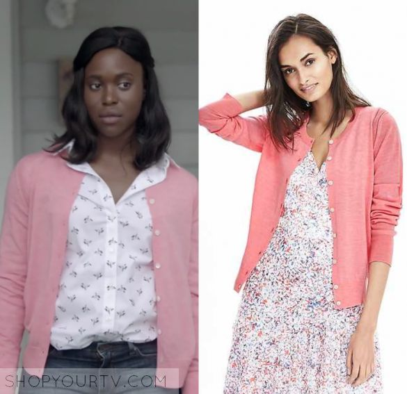 """Shots Fired: Season 1 Episode 8 Kerry's Pink Cardigan   Shop Your TV Kerry Beck (Clare Hope Ashitey) wears this pink cardigan with white button down front in this episode of Shots Fired, """"Hour 8: Rock Bottom"""".  It is the Banana republic Merino Pointelle Cardigan."""
