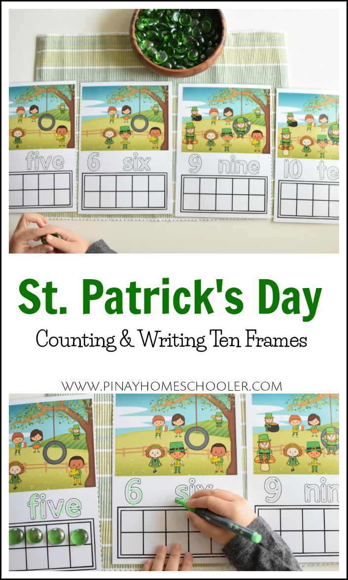 Preschool math activities for St. Patrick's Day  #tenframes #math #homeschool #preschool