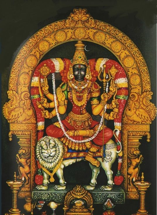 Ram Narayanan offers a photograph of Jaya Durga. He says: This Durga is from Jaya Durga Peedam temple at Padappai, which is located midway between Tambaram and Kancheepuram in a serene location a couple of kilometres from Padappai township in the suburbs of Chennai.