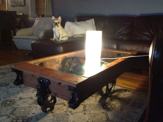 Glass Top Factory Cart Coffee Table Por Trolleysquareproper