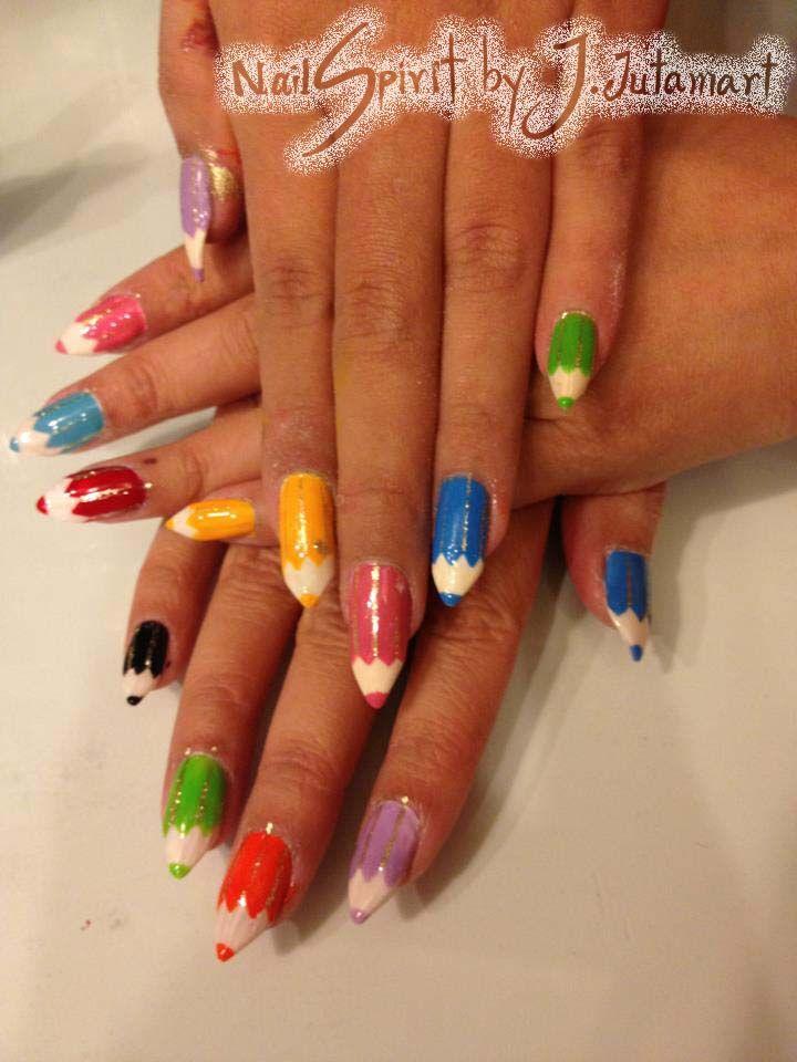 Crayon nail art by Jutamart.deviantart.com | miscellaneous ...