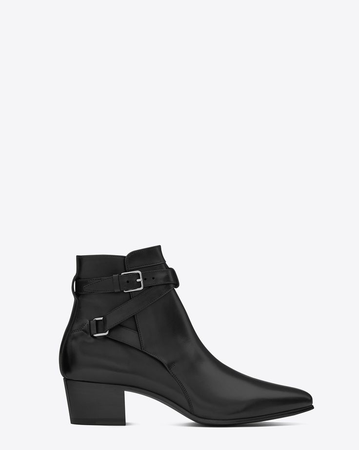 Saint Laurent SIGNATURE Blake 40 JODHPUR ANKLE BOOT IN BLACK LEATHER | YSL.com