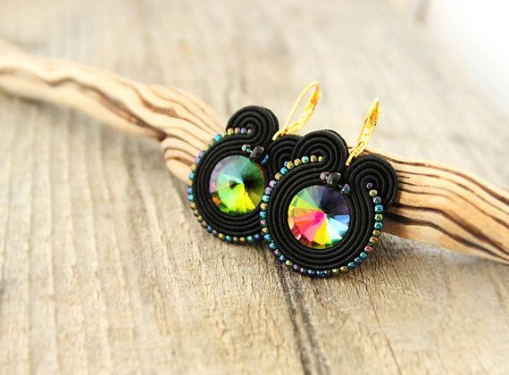Black drop crystal earrings rainbow crystal earrings black