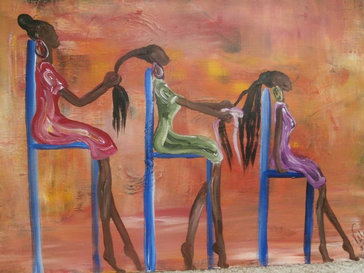 "Original African American black art painting signed 18"" x 24"""