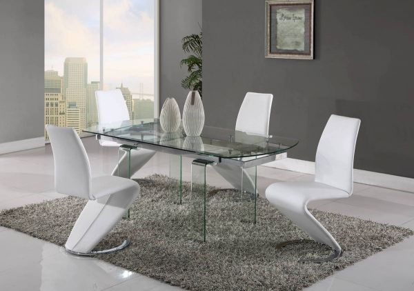D2160-D9002 Series Clear White 5pc Dining Room Set