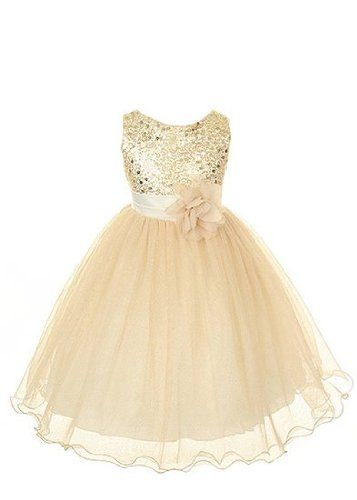 Girls Formal Dress Gold Sequin Size 6, An absolutely gorgeous Flower Girl dress for your toddler or little girl. This sleeveless dress has a stunning sequined bodice with a double layer of organza mesh. Comes with an elegant two toned flow..., #Apparel, #Special Occasion, $49.99