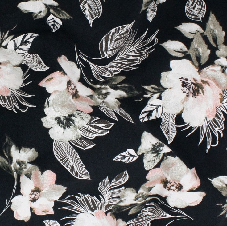 Stretch Woven Print - Blossoms on Black - Distinctive Sewing Supplies