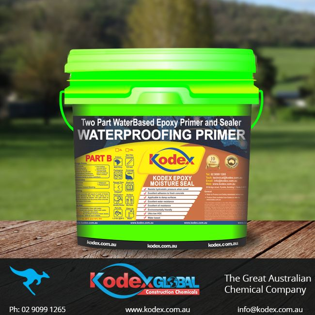Waterproof retaining walls, fish ponds, Dust sealing concrete floors, Moisture barrier on damp walls/floors with Kodex Epoxy Moisture Seal. This product has been designed with excellent water and oil resistance. Its water-based, ultra-low Voc, and environmental friendly. Click here to find more: http://www.kodex.com.au/wp-content/uploads/2015/02/Kodex-Epoxy-Moisture-seal.pdf