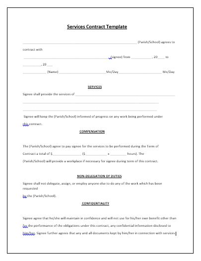 Image result for blank printable contracts for services