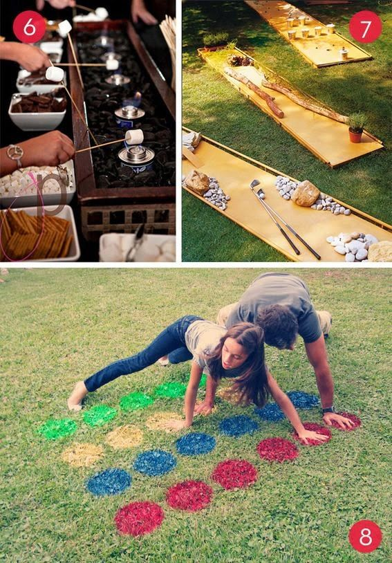 Outdoor party ideas -- Make your own s'mores, putt-putt golf, lawn Twister