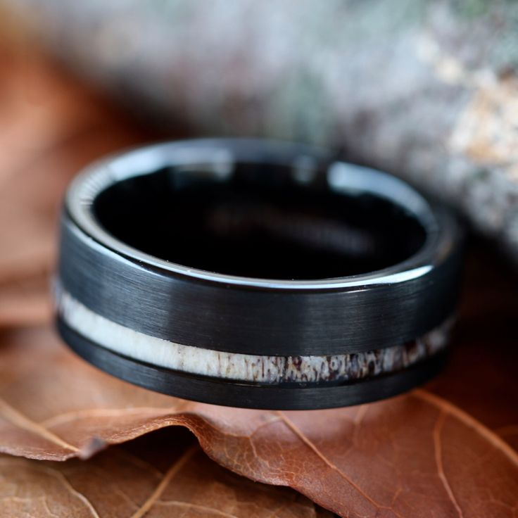 Black Tungsten Deer Antler Ring - Mens Band Womens Wedding Ring Tungsten Hunter Band by KingswayJewelry on Etsy https://www.etsy.com/listing/448564134/black-tungsten-deer-antler-ring-mens
