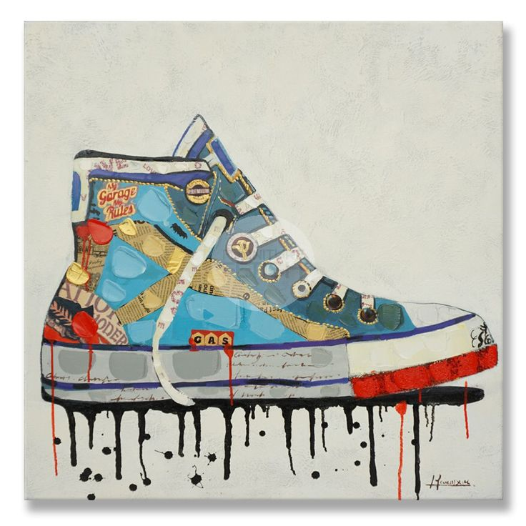 High Top Sneaker Shoe Oil Canvas 90cm x 90cm