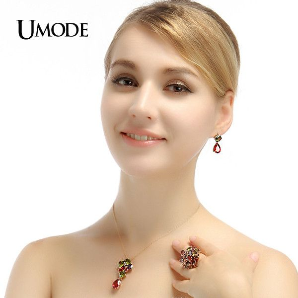 UMODE Gold-Color Attractive My Mona Lisa Olive-green and Red Color CZ Drop Earring UE0019