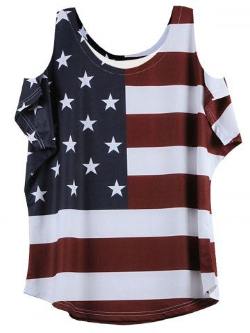GET $50 NOW | Join RoseGal: Get YOUR $50 NOW!http://www.rosegal.com/t-shirts/stylish-cold-shoulder-short-sleeve-flag-pattern-t-shirt-585976.html?seid=44i35a879ne5o1cb0ufthk3ge1rg585976