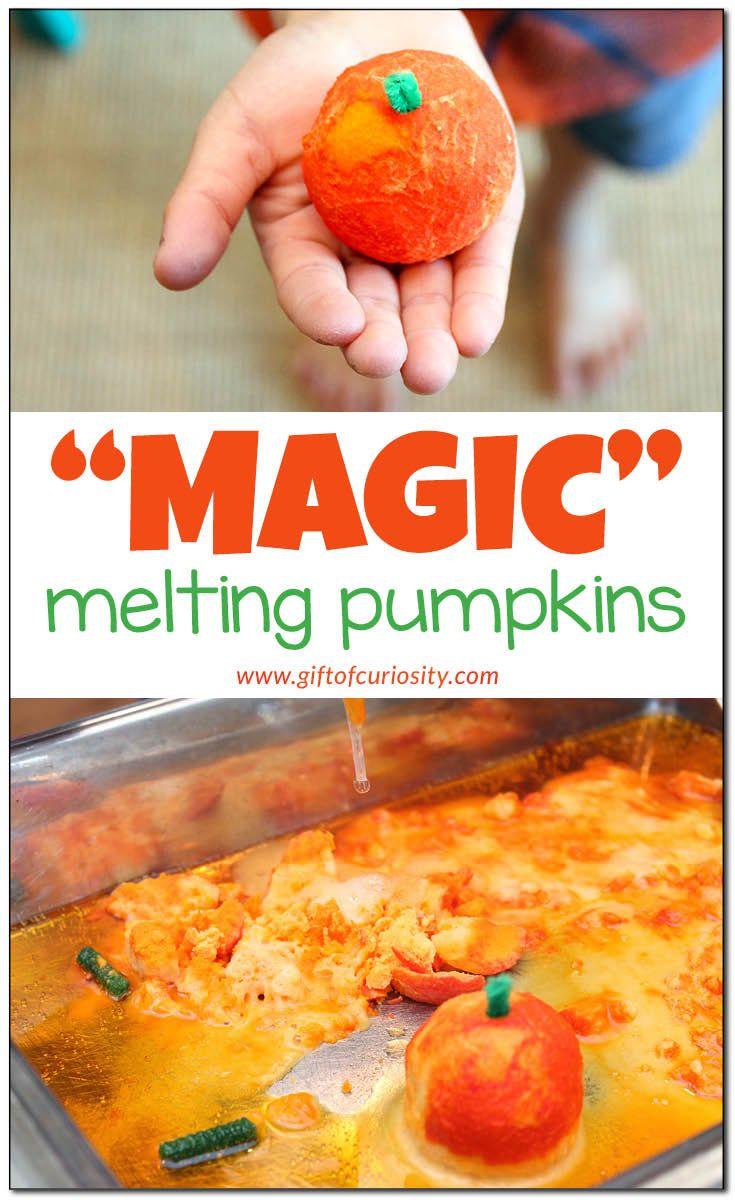 """Magic"" melting pumpkins Halloween science and fine motor activity | Halloween baking soda and vinegar activity | Halloween preschool science | Halloween STEM | Halloween STEAM | Fall STEM | Fall STEAM | Fall science activity for preschoolers || Gift of Curiosity"