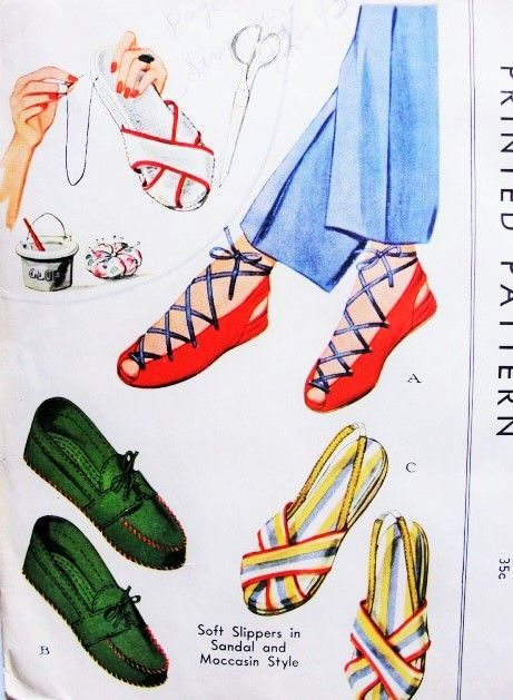 FAB 40s Slippers Sandals Moccasin Shoe Pattern McCALL 993 Swing Era WW II Perfect Summer or Beachwear Shoes Size Large 6.5-7-7.5 Vintage Sewing Pattern