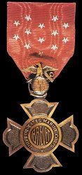 The U.S. Marine Corps Brevet Medal. It was awarded in 1921 to the 23 living USMC officers (including 3 who died before the awarding ceremony) that received brevet promotions before the practice was discontinued in 1900. As marines became eligable to receive the Medal of Honor in 1915 there are 3 men who held both; including one 2-time holder.
