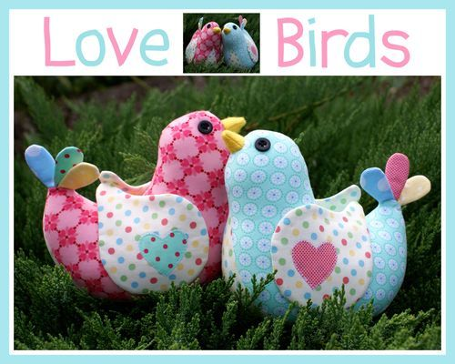 Love Birds Softie Melly and Me Pattern : Banberry Place, Kids Knit Fabrics::Euro Fabric::Indie Sewing Patterns::Novelty Woven Ribbon