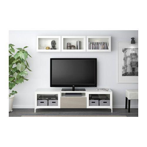 BESTÅ TV storage combination/glass doors - white/Selsviken high gloss/beige clear glass, drawer runner, push-open - IKEA