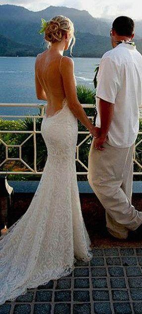 Spaghetti straps Sexy Backless Beach Wedding Dresses,Long Wedding Dresses,Backless Wedding Dresses