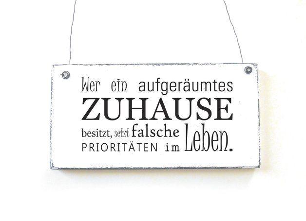 Buchstaben & Schriftzüge - ZUHAUSE Schild Dekoschild Shabby Holz Vintage - ein Designerstück von DOERPKIND bei DaWanda