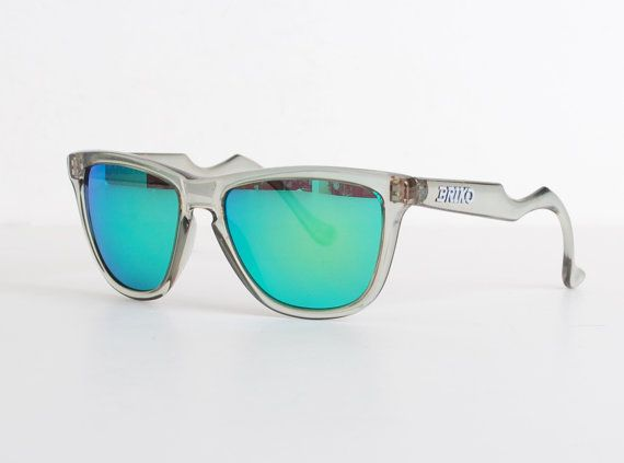 Vintage 90s Briko Clear Green Mirrored Sunglasses