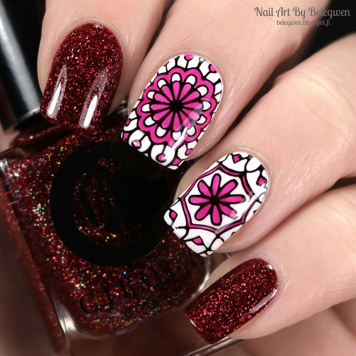 Nail Art By Belegwen:Cirque Garnet and Essence Wild White Ways with coloured stamps