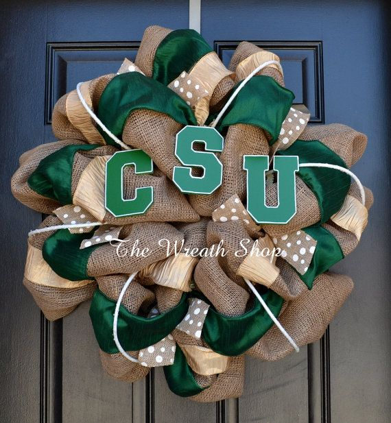 Colorado State University Burlap Wreath  by CreationsbySaraJane