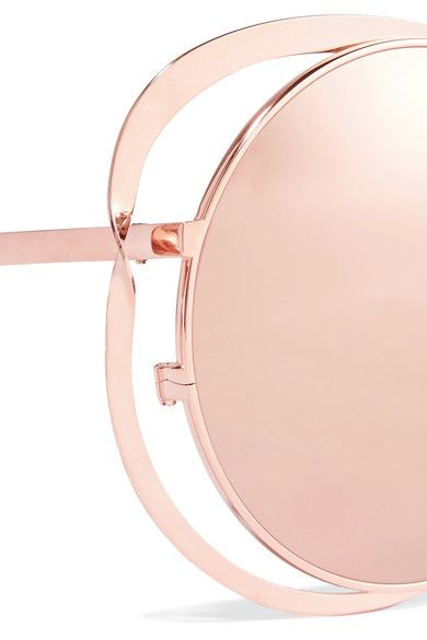 Linda Farrow - Round-frame Rose Gold-plated Mirrored Sunglasses - Pink