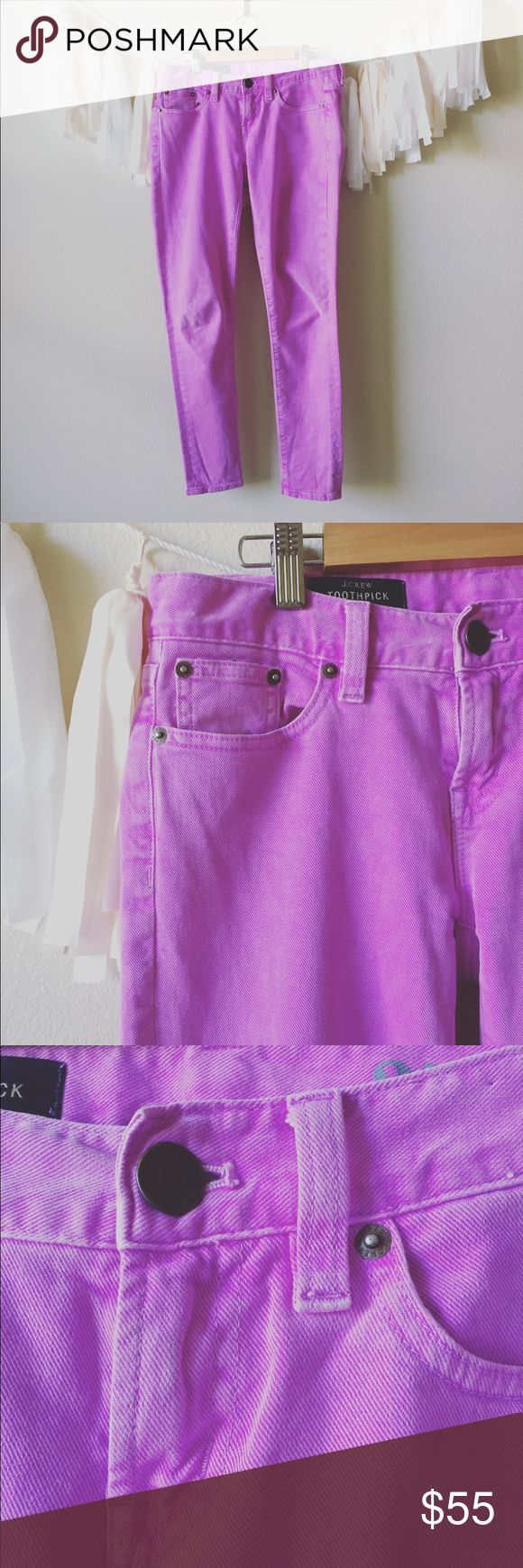 """JCREW TOOTHPICK SKINNY JEANS NEON PURPLE SIZE 25 -Brand: J.Crew  - Size: 25  -Color(s): Neon Purple  -Measurements:  Top to Bottom:  Waist: 15 1/2"""" Inseam to Bottom: 27 1/2"""" Ankle: 5""""  FUN FACTS!   - I ship every single day!  - All items come from a smoke free home! - Each item is sealed in a plastic ziplock bag to ensure your item is not damaged  - Feel free to ask questions or send offers! J. Crew Jeans Skinny"""