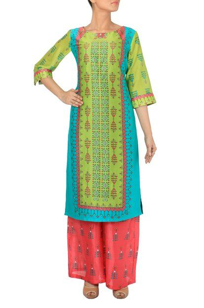 Lemon Green & Turquoise Blue Long Kurta With Coral Palazzo Pants Sst Preview